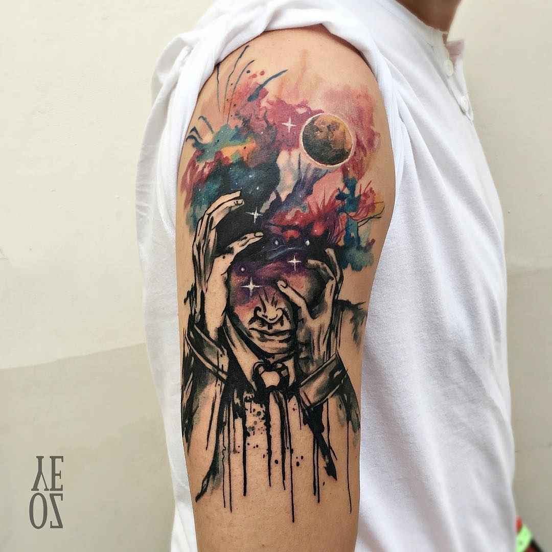 Watercolor Color And Sketch Tattoo: Watercolor Sketch Tattoo