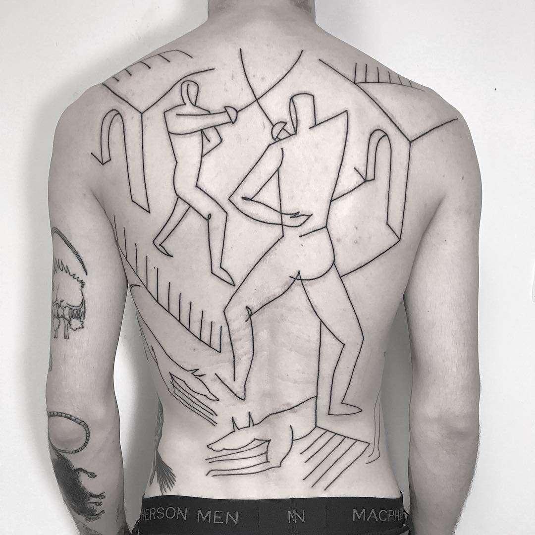 Тату мастер Caleb Kilby, черная абстрактная татуировка   Лондон, Великобритания