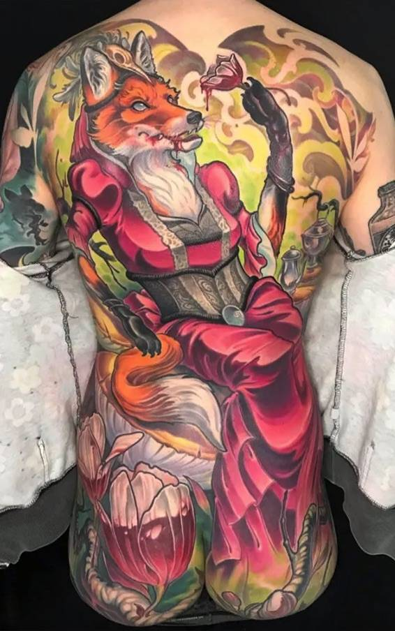 Tattoo artist Ande Chambers, color neo traditional and new school tattoo | United States