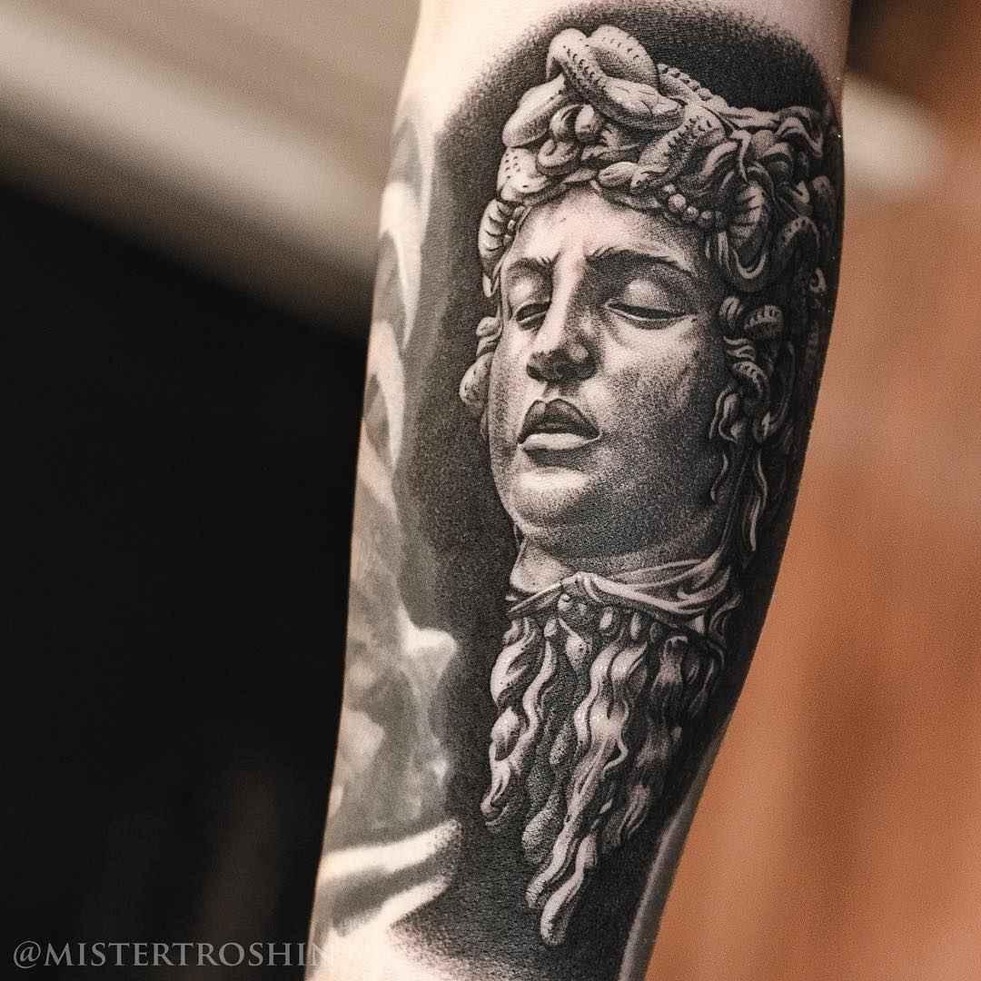 Tattoo artist Dmitry Troshin, black and grey realistic tattoo, engraving, black and grey realism | Moscow, Russia