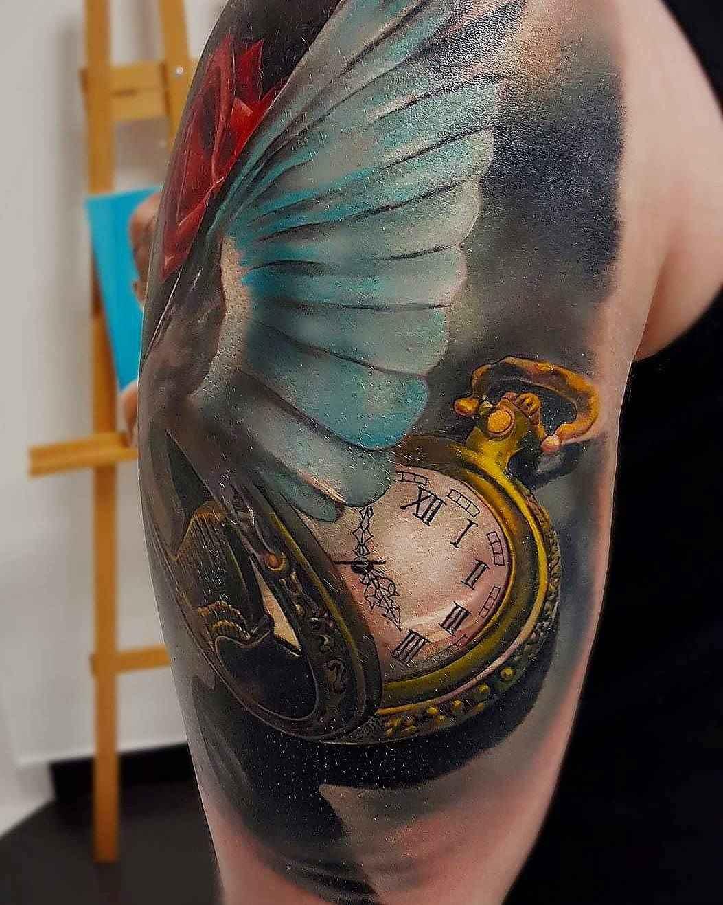 только тату часы и птицы фото если поднять глаза