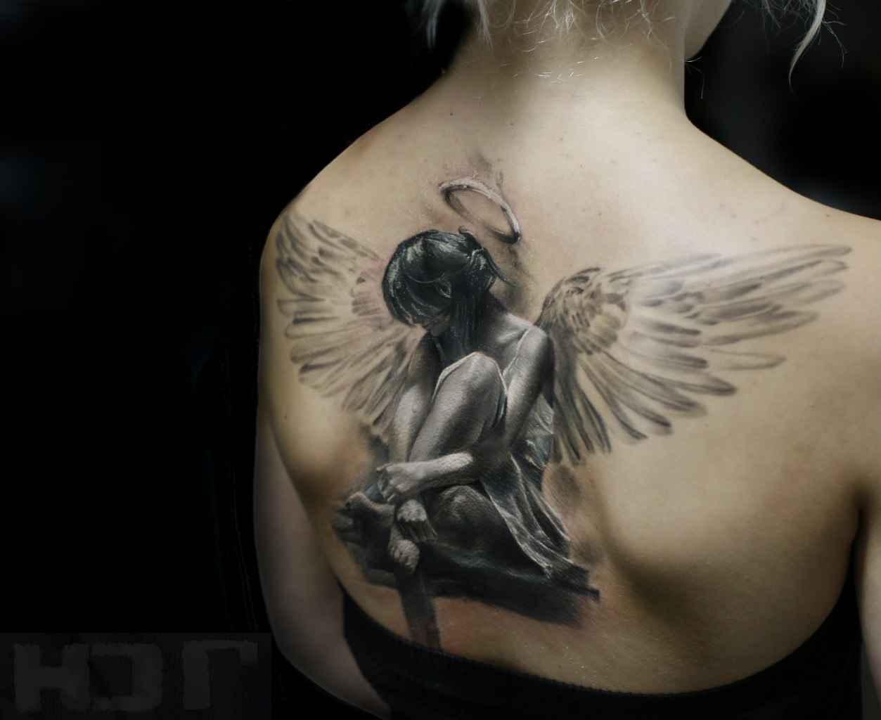 Фото тату девушки ангелы