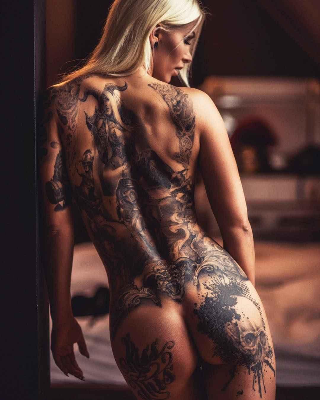 Tattooed lovers erotic tattoo art print