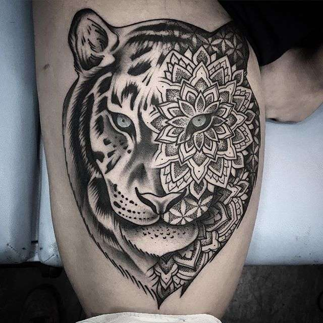 Contrast dotwork by chris bint inkppl tattoo magazine - Mandalas de tigres ...