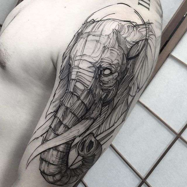 Tattoo artist Fredao Oliveira blackwork sketch tattoo