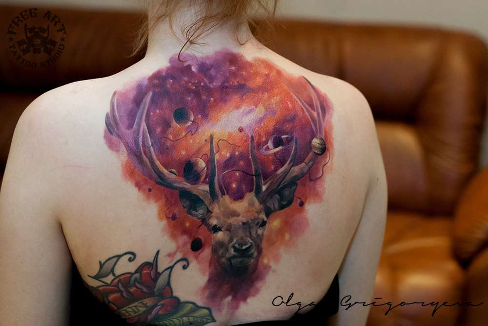 Tattoo artist Olga Grigoryeva color and black and grey tattoo realism