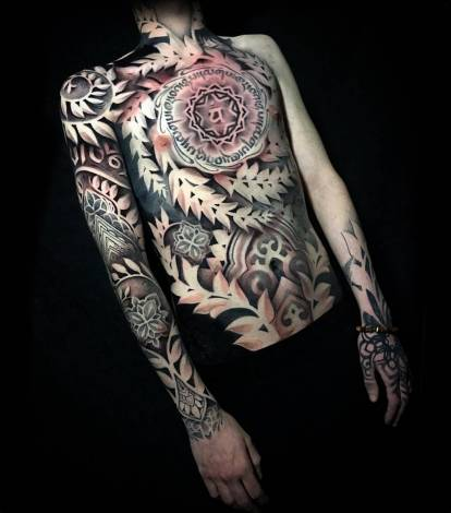Ornamental blackwork tattoo by John Del-Pinto