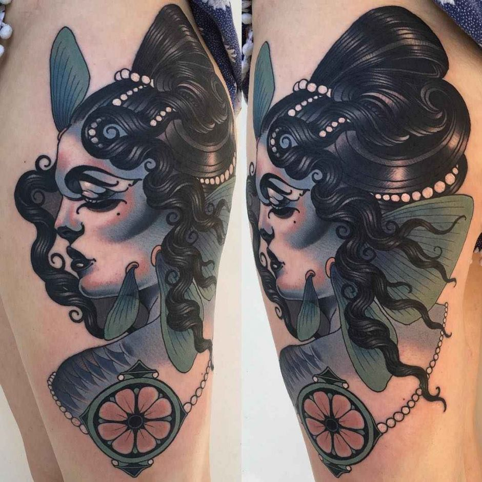 Color neo traditional tattoo by Emily Rose Murray