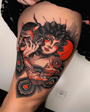 Traditional tattoo by Pablo Lillo