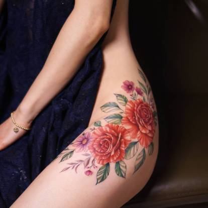 Gentle flowers tattoo by Silo