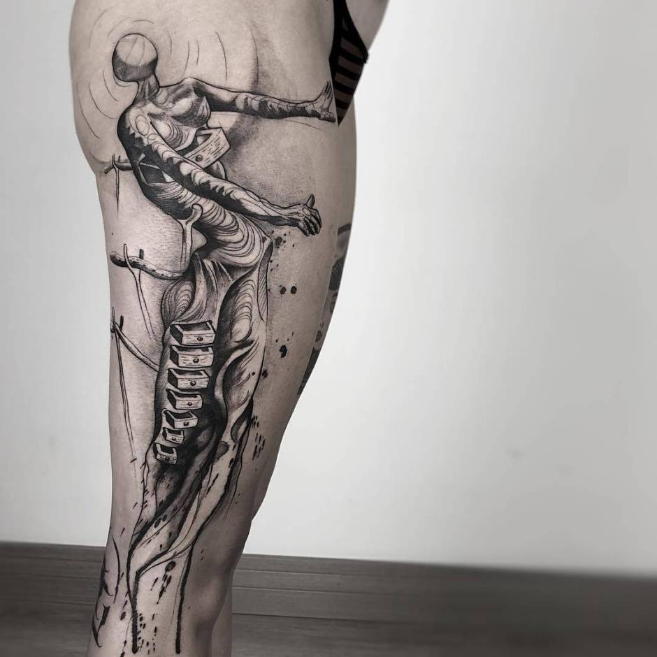 Tattoo artist Paulo Reis, black sketch watercolor authors style tattoo | San Paulo, Brazil