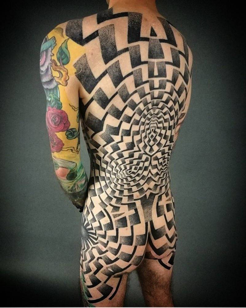 Dotwork ornamental tattoo by Deryn Twelve
