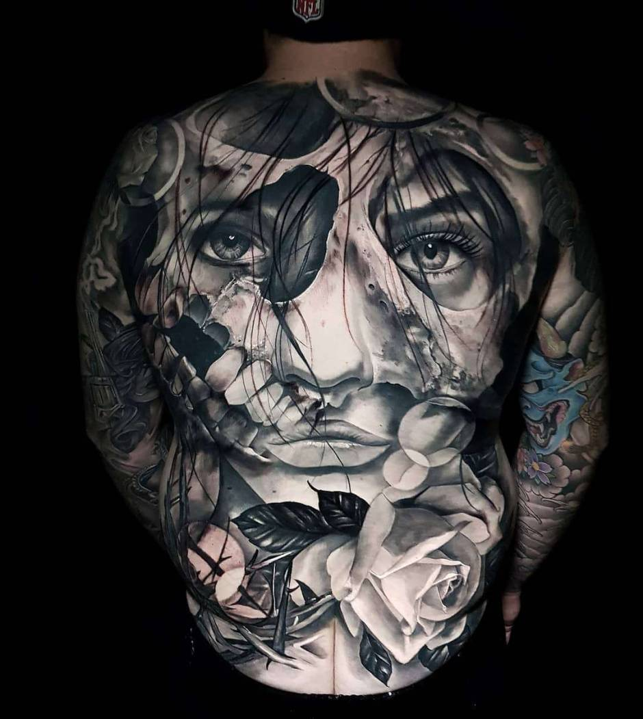 Black and gray detailed tattoo realism by Nick Imms