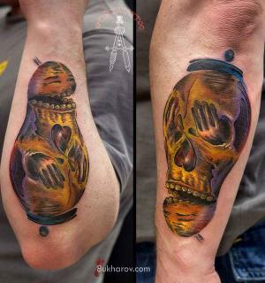 Double-sided tattoos from Ivan Bukharov