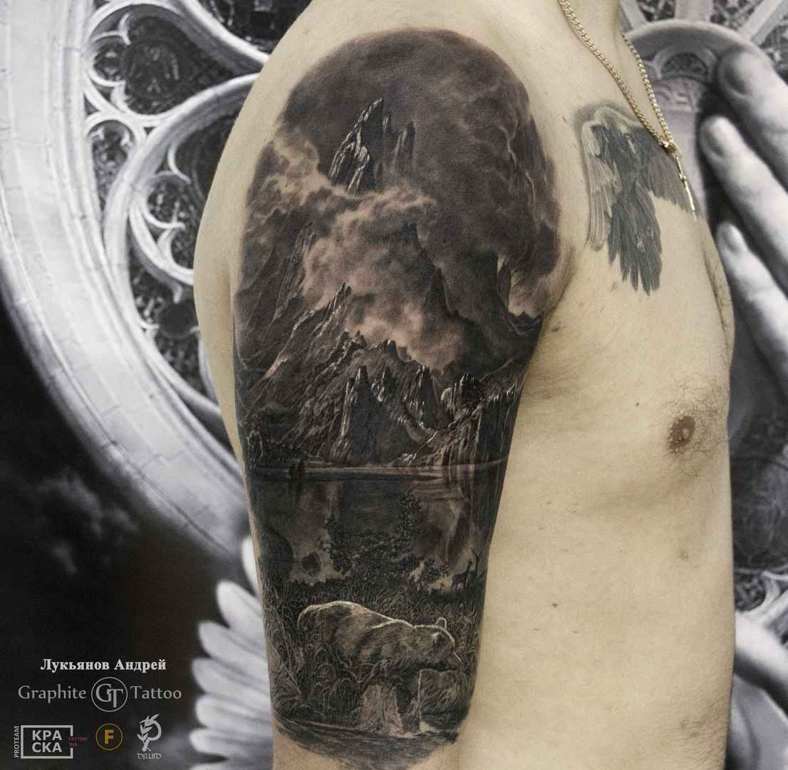 Detailed realistic tattoo by Andrey Lukyanov