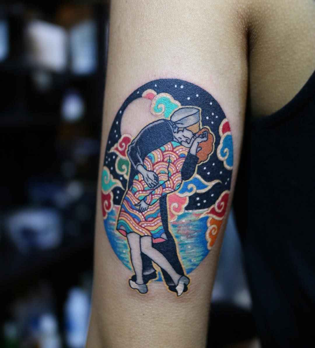 Korean traditional tattoo by Pitta