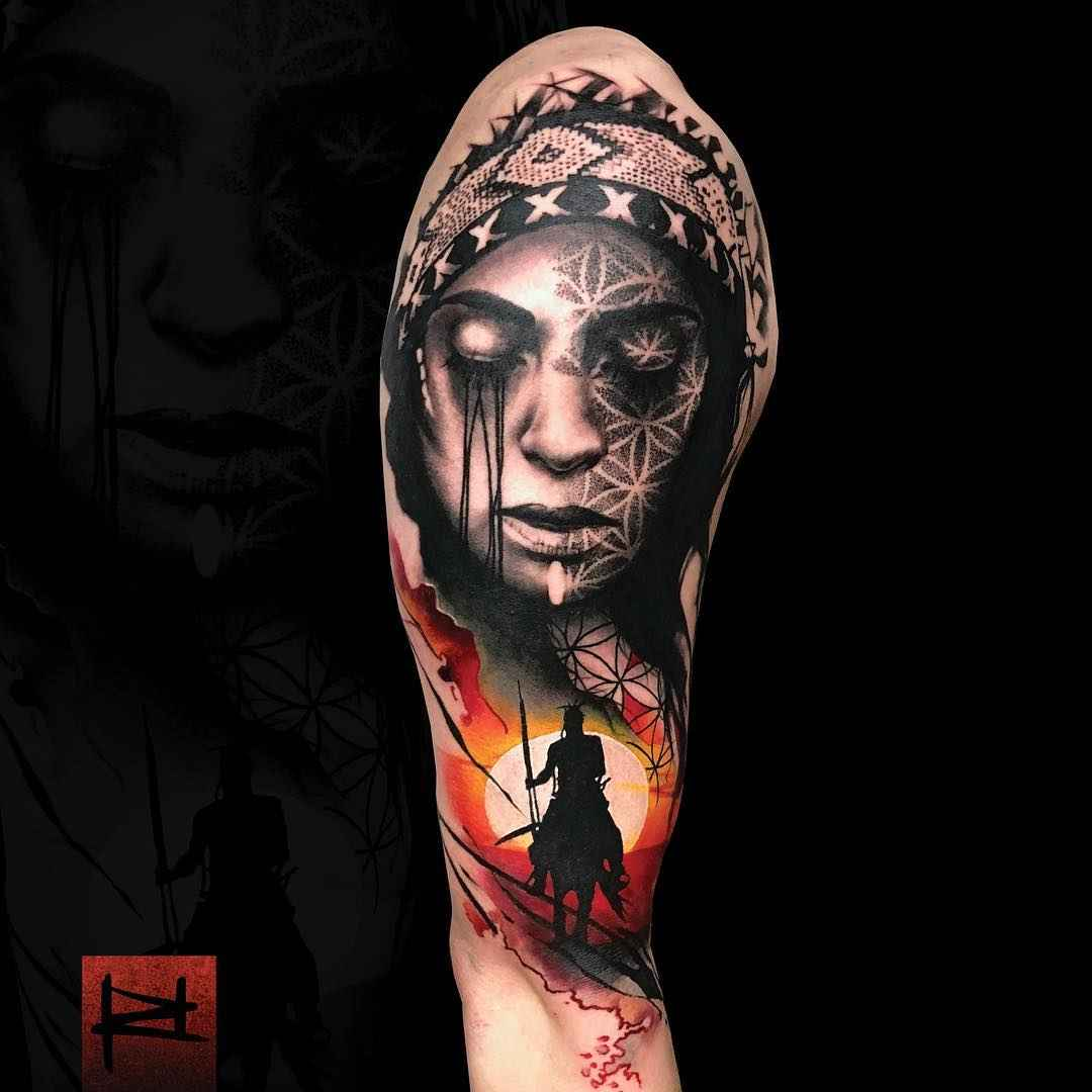 Abstract portrait tattoo by Rich Harris