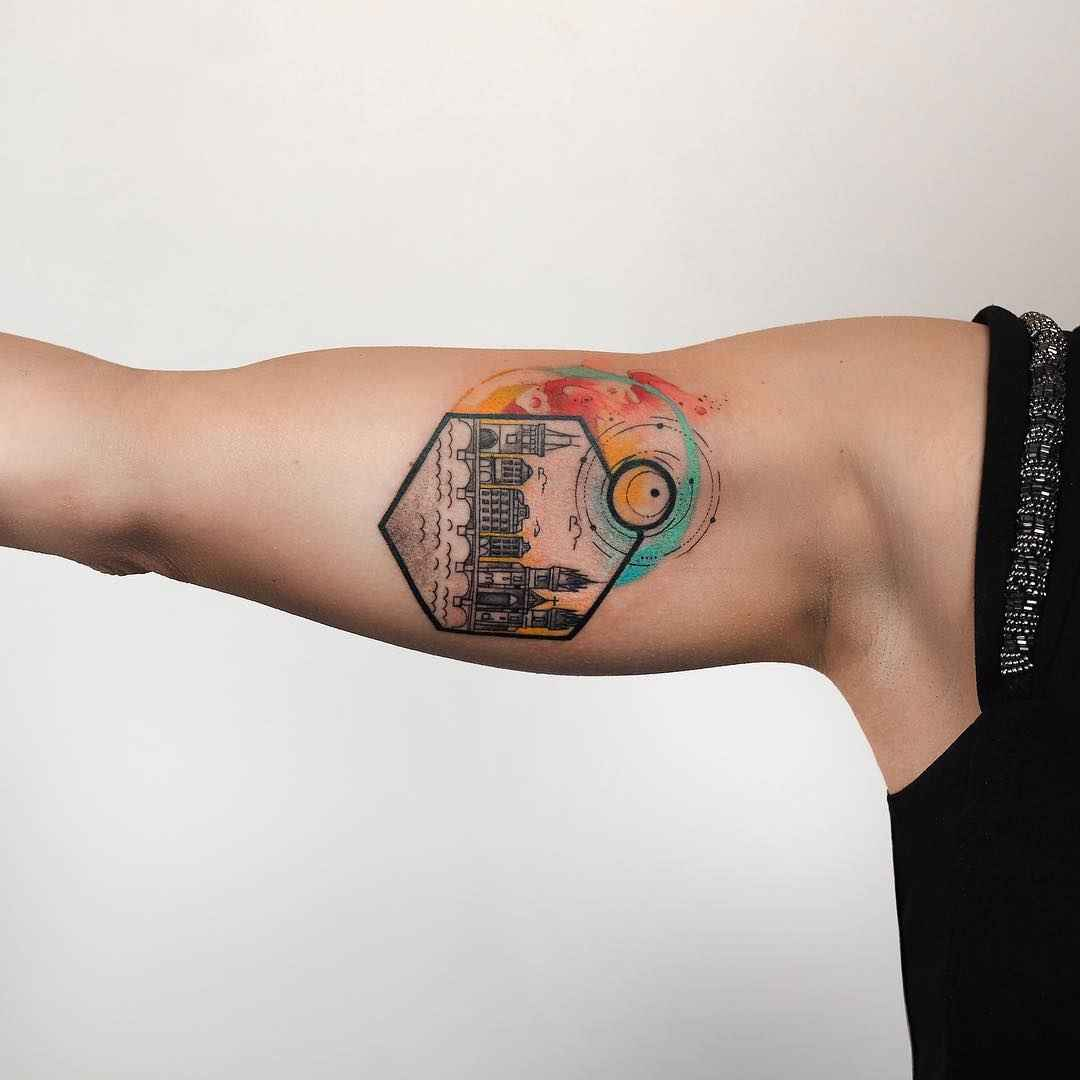 6693e9f99 ... Tattoo artist Baris Yesilbas color athors style watercolor tattoo with  geometry and realistic elements | Turkey ...