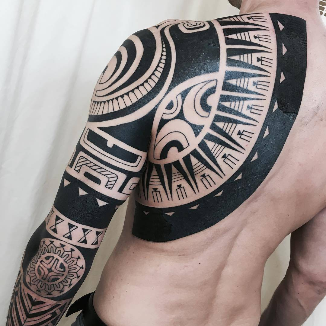 dcf350a68 ... Japan Tattoo artist Taku Oshima, black tribal ornamental tattoo,  blackwork   Tokyo, Japan ...